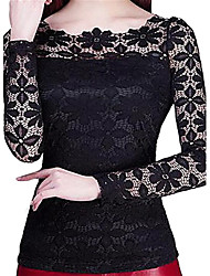 cheap -Women's Holiday Street chic Plus Size Slim Blouse - Solid Colored, Lace