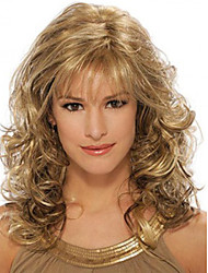 Fashion Curly Golden Brown Mix Color Waves of High Quality Synthetic Hair Wig.