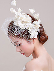 cheap -Flax Imitation Pearl Lace Net Fascinators Flowers Headpiece