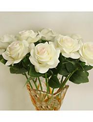 baratos -Flores artificiais 1 Ramo Estilo Europeu Rosas Flor de Mesa