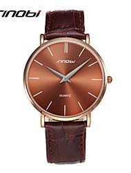 cheap -SINOBI® Mens Designer Quartz-watch Brown Case Leather Gents Fashion Automatic Quartz Wrist Watches Male Wristwatches