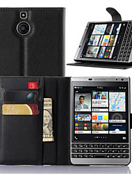 cheap -For BlackBerry Case Card Holder / with Stand / Flip Case Full Body Case Solid Color Hard PU Leather for BlackBerry