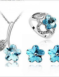 cheap -Women's Crystal Jewelry Set - Crystal Flower Include Green / Blue / Pink For Wedding Party Birthday / Rings / Earrings / Necklace