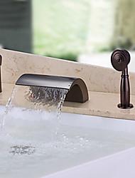 abordables -Robinet de baignoire - Jet pluie Douchette inclue Bronze huilé Diffusion large Mitigeur Trois trous