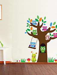 Cute Wise Owls Tree Wall Stickers For Kids Room Decorations Nursery Cartoon Children Decals Pvc Animal Wall Decal