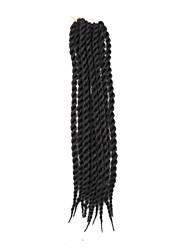 baratos -Cabelo para Trançar Encaracolado / Tranças de caixa Tranças torção Cabelo Sintético / 100% cabelo kanekalon / Kanikalon 18 raízes Tranças de cabelo Preta 22 polegada 21.3polegadas (Aprox.54cm) Festa