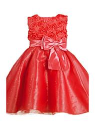 povoljno -Djevojka je Poliester Cvjetni print Proljeće Jesen Bez rukávů Haljina Crvena Fuksija Crvena Plava Pink