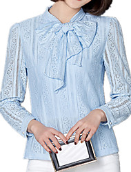cheap -Spring Women's Bow Collar Slim Was Thin Fashion Splice Long Sleeve Lace OL Shirt Blouse Tops