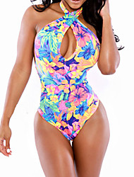cheap -Women's Plunging Halter One-pieces/Cover-Ups,Color Block/Floral Wireless Polyester Multi-color