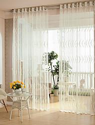 Недорогие -2 шторы Современность В полоску Белый цвет Спальня Полиэстер Занавески Оттенки