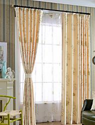 Недорогие -2 шторы Современность Цветочные / ботанический В соответствии с фото Спальня Полиэфирно-льняная смешанная ткань Шторы занавески затемнения