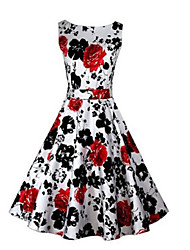 cheap -Women's Vintage A Line Dress - Floral, Print Boat Neck