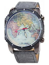 baratos -JUBAOLI Homens Relógio de Pulso Quartzo Relógio Casual Couro Banda Analógico Padrão Mapa do Mundo Preta / Azul - Preto Azul Escuro Azul Claro