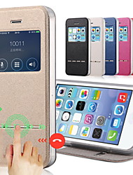 cheap -Solid Color PU Leather+Tpu Smart Sliding Answer View Window Flip Case for iPhone 7 7 Plus 6s 6 Plus SE 5s 5