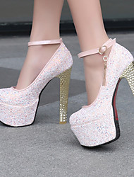 cheap -Women's Shoes Leatherette Chunky Heel Heels / Round Toe Heels Wedding / Dress / Casual Blue / Pink / White/F-24