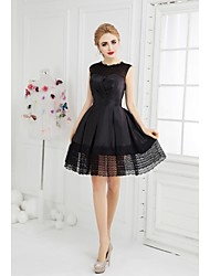 cheap -A-Line Jewel Neck Short / Mini Taffeta Cocktail Party Dress with Lace Side Draping by SGSD