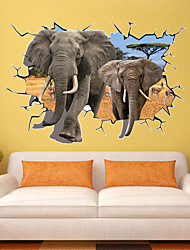 cheap -70*100Cm Pvc African Animal Elephants 3D Wall Sticker Kids Love Bedroom Living Room Party Wall Decors