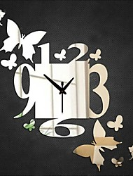 cheap -DIY 3D Mirror Silver Wall Stickers For Home Decal Butterfly Pattern Artistic Wall Sticker Clock Watch Home Decoration