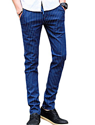 cheap -Men's Mid Rise Micro-elastic Chinos Pants,Casual Street chic Striped Cotton Polyester All Seasons