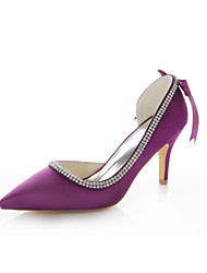 cheap -Women's Shoes Stretch Satin Summer Stiletto Heel Crystal / Ribbon Tie Purple / Red / Wedding / Party & Evening / Dress / Party & Evening