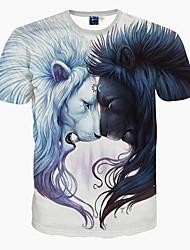 baratos -Homens Camiseta - Esportes Estampado, Animal Delgado Leão / Manga Curta
