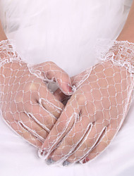 cheap -Lace Elastic Satin Wrist Length Glove Bridal Gloves Elegant Style