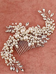 Imitation Pearl Cubic Zirconia Alloy Hair Combs Headpiece