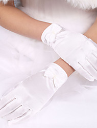 cheap -Elastic Satin Polyester Wrist Length Glove Classical Bridal Gloves With Solid