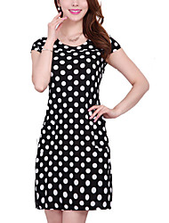 Hot Sale Women's Vintage / Casual / Day Polka Dot Plus Size / Sheath Dress , Round Neck Knee-length Rayon / Polyester