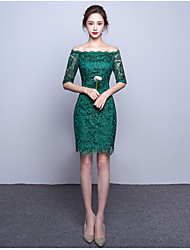 cheap -A-Line Bateau Neck Knee Length Lace Over Satin Cocktail Party Homecoming Dress with Lace by TS Couture®