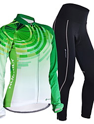 cheap -Nuckily Women's Long Sleeves Cycling Jersey with Tights - Green Geometic Bike Jersey Clothing Suits, Quick Dry, Anatomic Design,