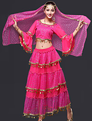cheap -Belly Dance Outfits Women's Performance Chiffon Draped 3 Pieces Top Skirt Headpieces