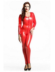 cheap -Zentai Suits Ninja Zentai Cosplay Costumes Red Solid Leotard/Onesie Zentai Spandex Shiny Metallic Unisex Halloween