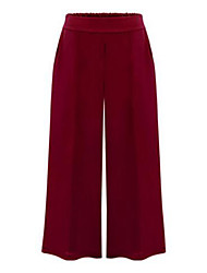 cheap -Women's Mid Rise Micro-elastic Wide Leg Jeans Pants Solid Cotton Spring