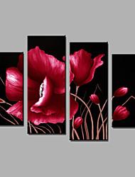 Ручная роспись Цветочные мотивы/ботаническийModern 4 панели Холст Hang-роспись маслом For Украшение дома