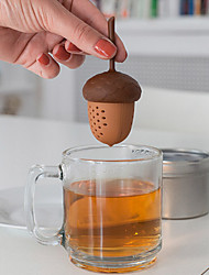cheap -Silicone Squirrel Acorn Shape Tea Infuser Loose Pine nuts Tea Bag Strainer Herbal Filter Spice Diffuser