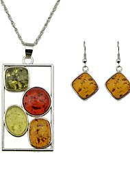 Colorful Imitation Amber Pendant Necklace Earrings Fashion Jewelry Set