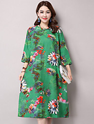 cheap -Women's Boho Cotton Loose Dress Print