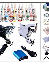 profesional kit de tatuaje begineer kl102 1 máquina con apretones de alimentación de tinta 28x5ml agujas