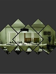 Hot Shining Diamond Shape Acrylic Mirror Effect Silver Wall Sticker Window Glass Tile Bedroom Decal Home Decor