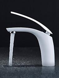 economico -Art déco/Retrò Installazione centrale Ruotabile Valvola in ottone Una manopola Un foro Nichel lucido , Lavandino rubinetto del bagno