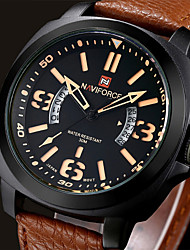 cheap -Men NAVIFORCE watch Quartz Waterproof Sports Watch Calendar Genuine Leather Wristwatch Wrist Watch Cool Watch Unique Watch
