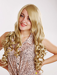 Women Synthetic Wig Capless Long Curly Blonde Halloween Wig Carnival Wig Costume Wigs