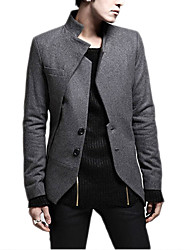 cheap -Men's Daily Simple Casual Fall Blazer,Solid Stand Long Sleeve Regular Cotton Linen
