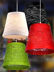 20CM Modern Rural Cany Art Woven Rattan Restaurant Single Head Droplight Lamp LED