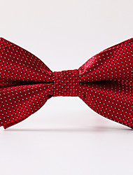 Men's Party/Evening Wedding White Red Plaid Formal Bow Necktie