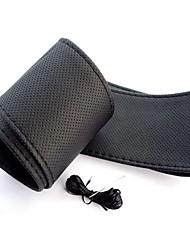 baratos -ziqiao universal anti-derrapante couro pu respirável carro DIY auto volante capa com agulhas (37 ~ 38 centímetros)