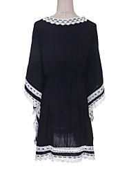 baratos -Mulheres Para Noite Moda de Rua Reto Vestido - Renda, Bordado Decote V Altura dos Joelhos