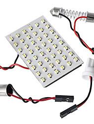 Недорогие -5 в 1 3528 SMD LED панель 48 белый свет водить + T10 / модуль BA9S + двойной наконечник (DC 12V)