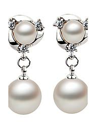 2016 Korean Women 925 Silver Sterling Silver Jewelry Imitation Pearl Earrings Drop Earrings 1Pair